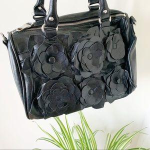 Steve Madden Flowers Black Vegan Handbag